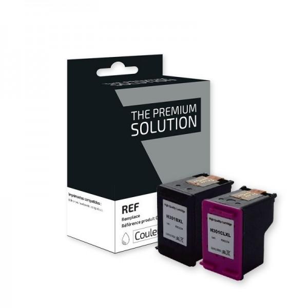 Compatible Pack HP301 XL (Noire + Couleur) Cartouches Remanufacturées Grande Capacité