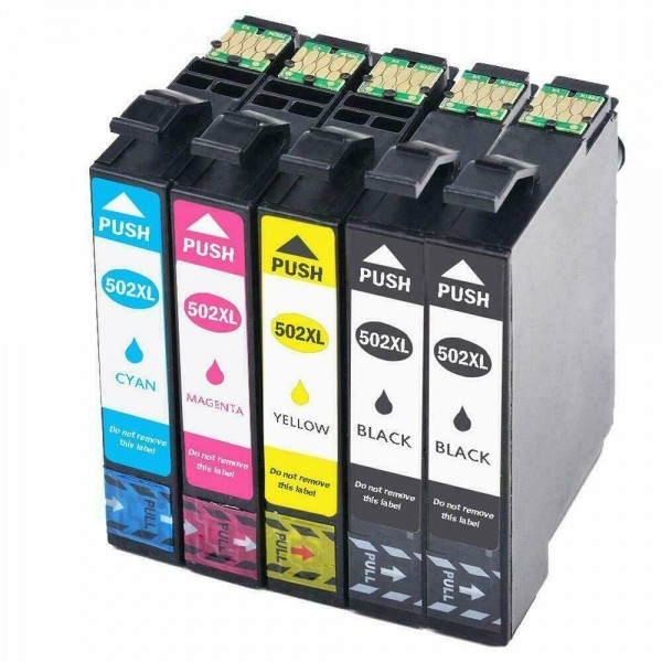 502 XL  - Pack  5 Cartouches d'encre compatible Epson Noir - Couleurs