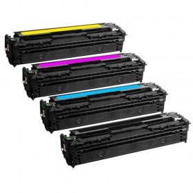 HP CB540 / CB541 / CB542 / CB543 - Lot de 4 toners génériques équivalents aux modèles HP 125A noir, cyan, magenta et jaune